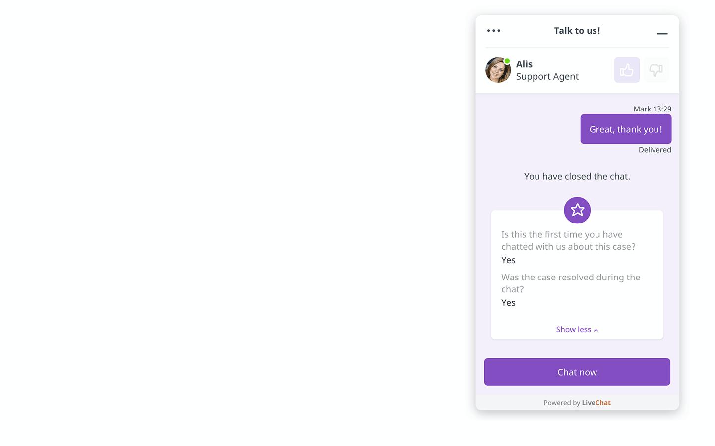 LiveChat chat widget surveys