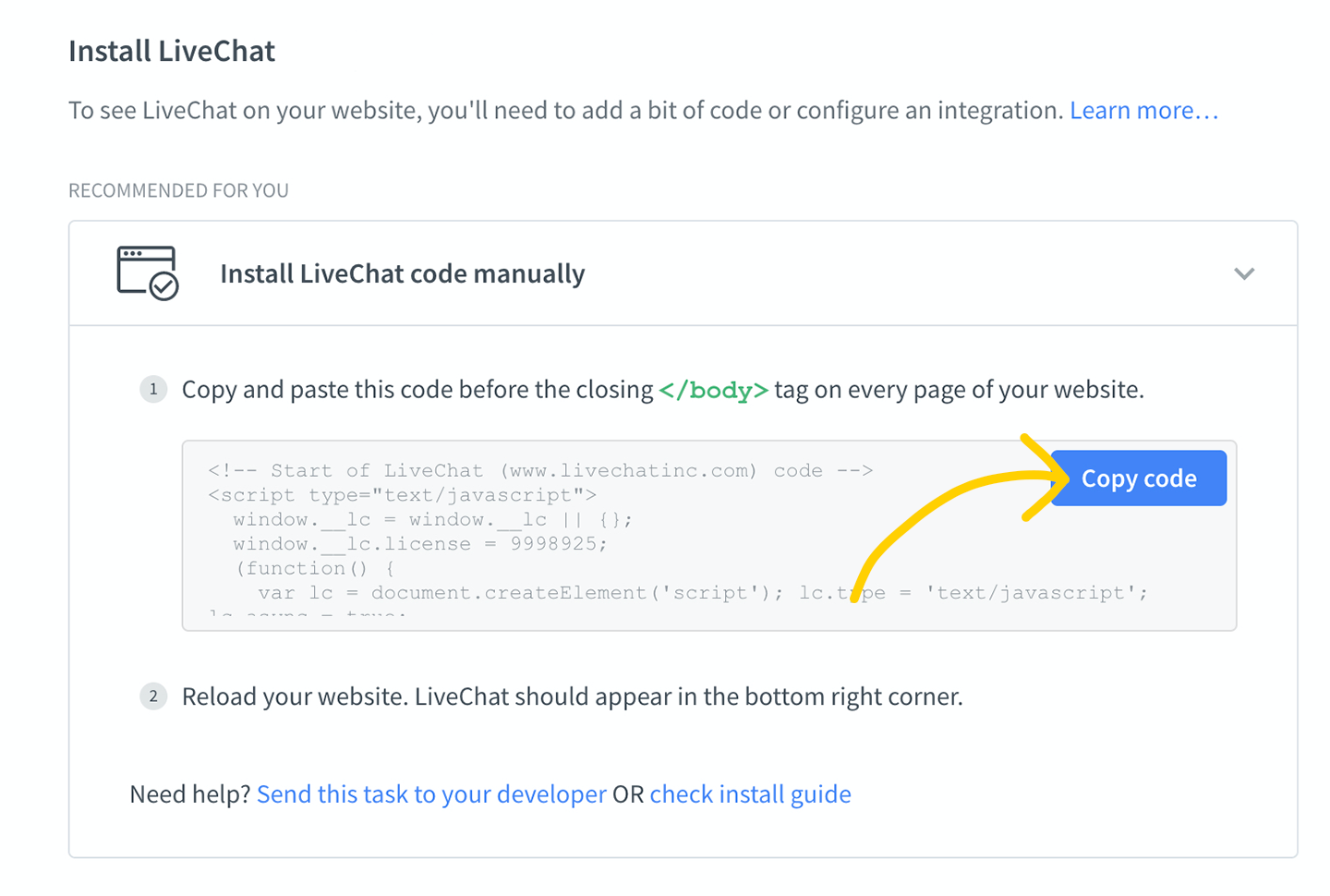 Livechat install code