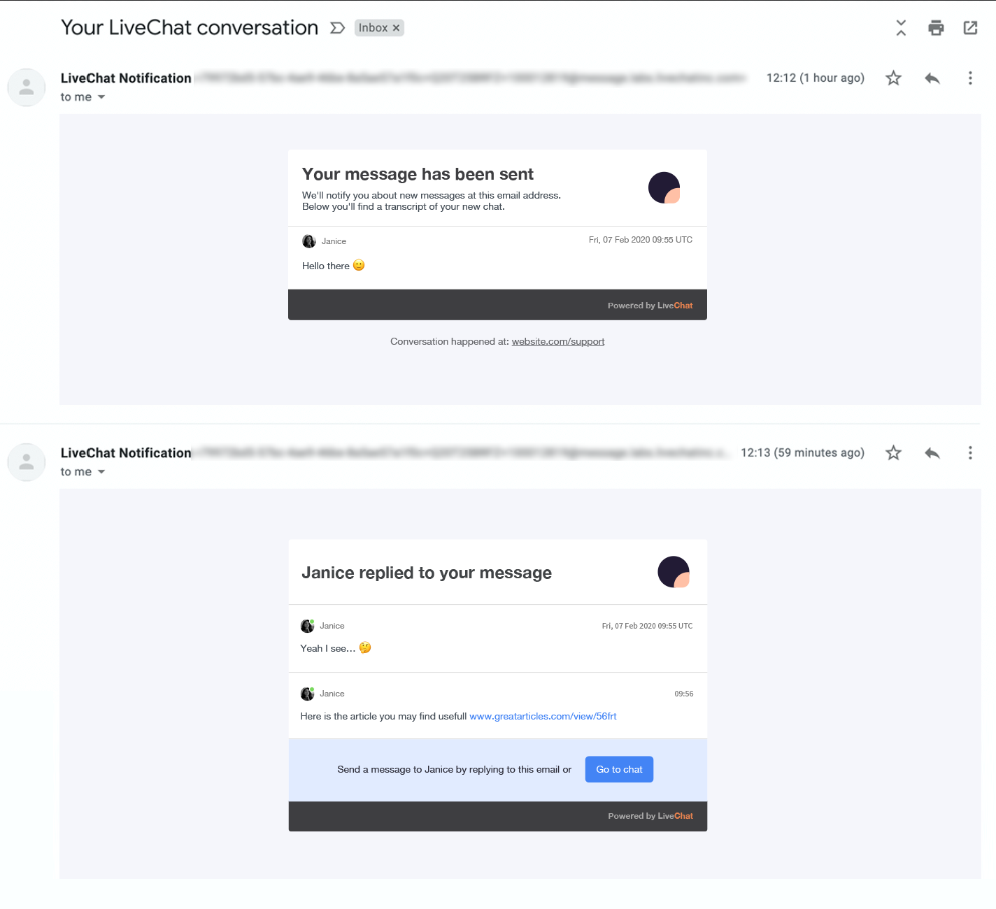 new LiveChat message email notification