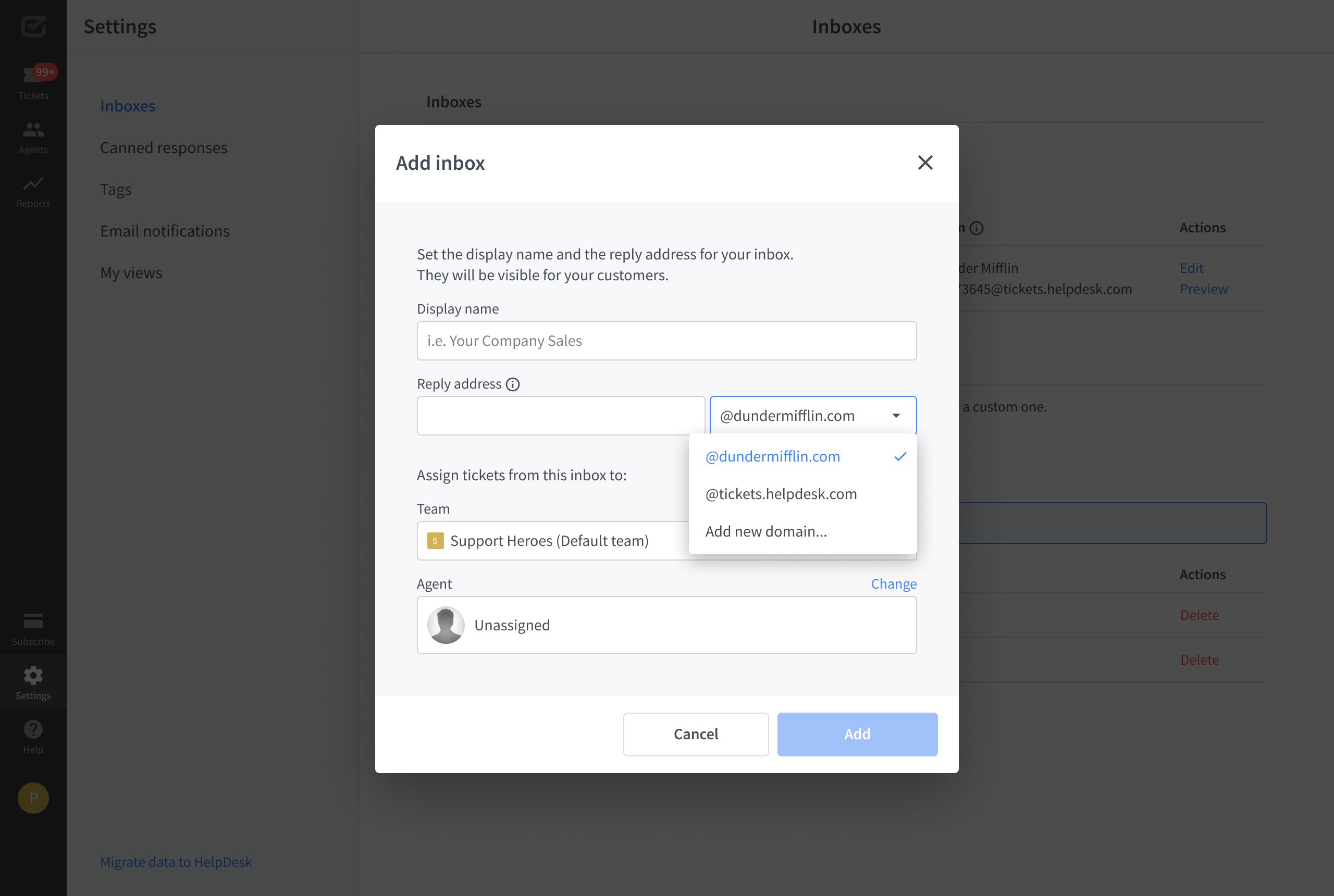 Setting up inbox in the HelpDesk app