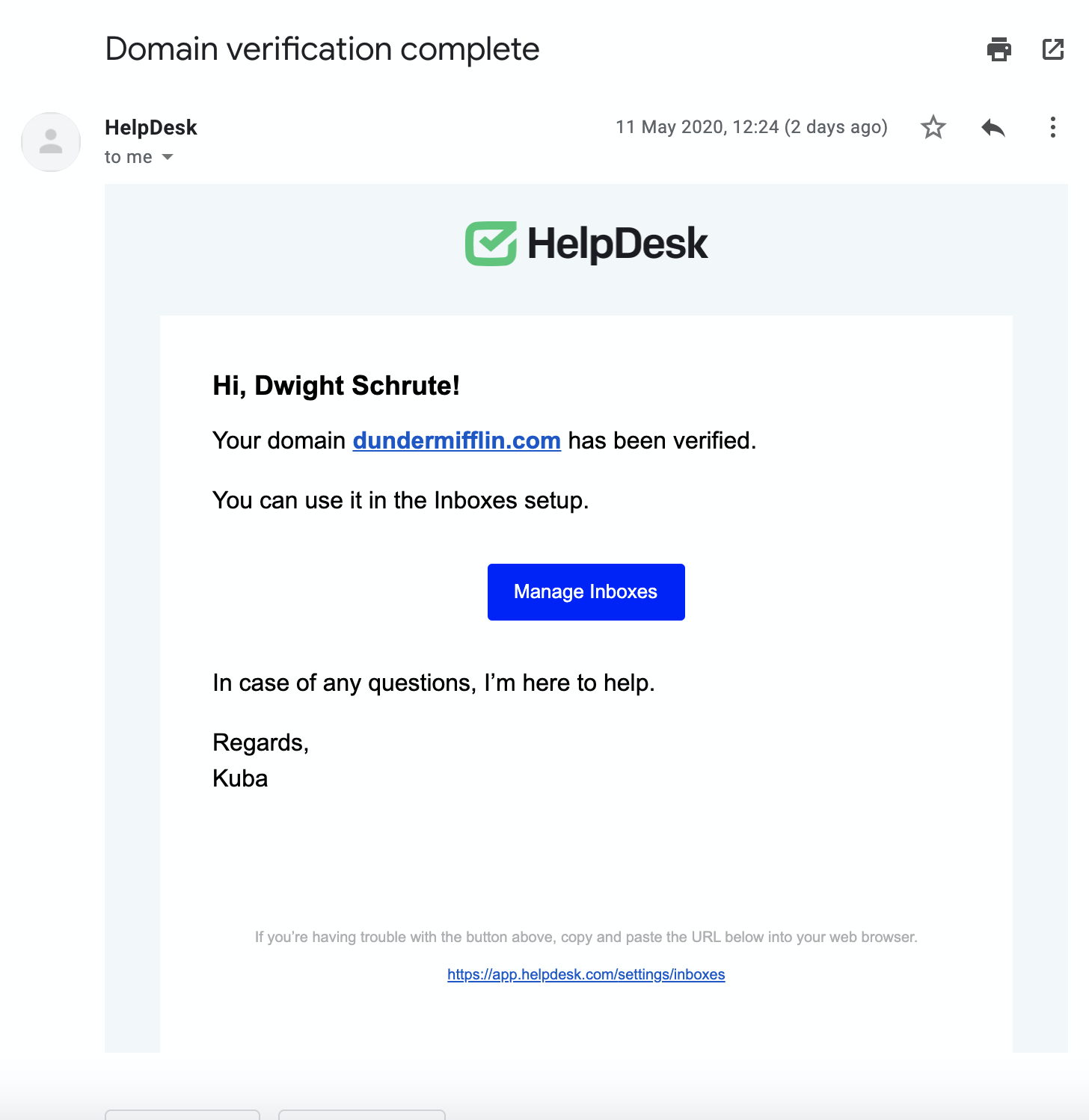 Email confirmation of verifying the domain