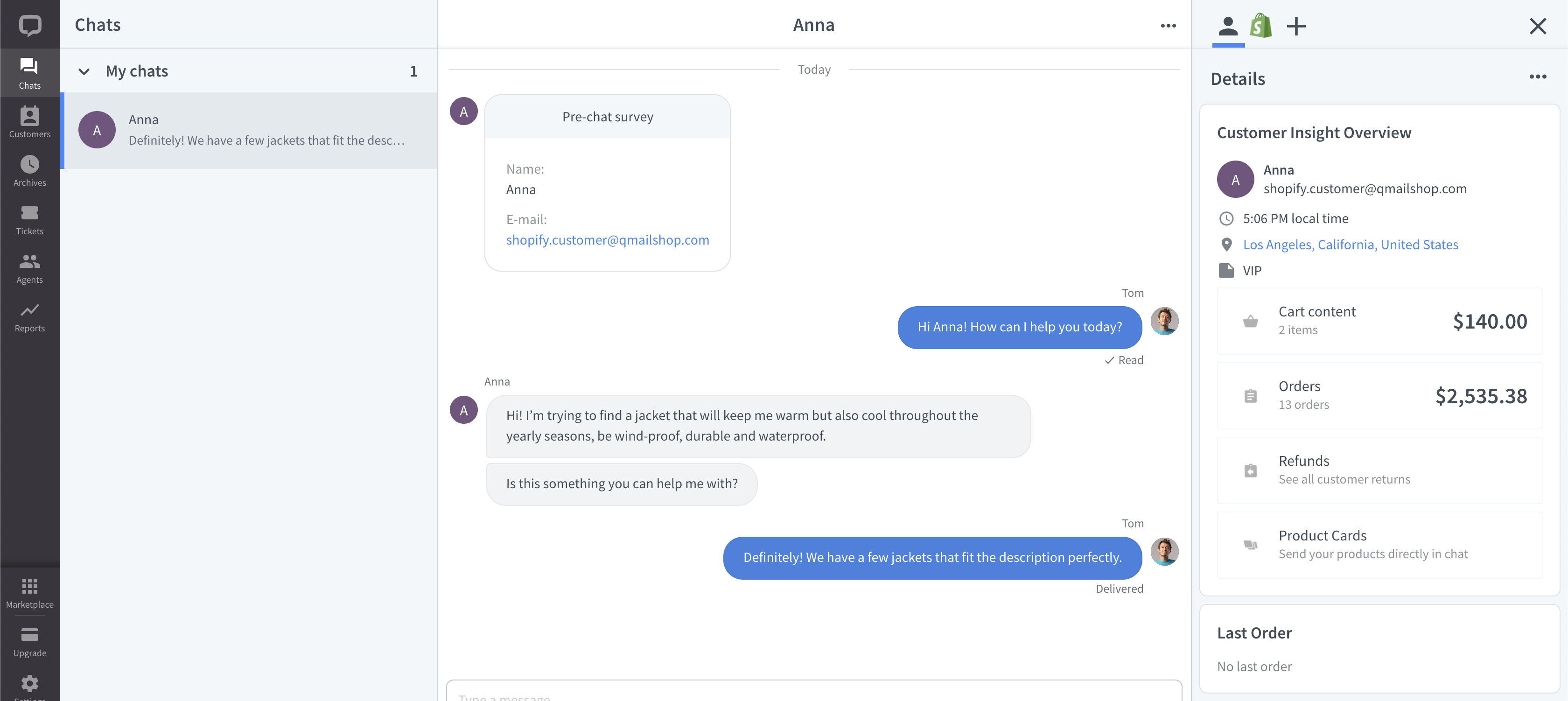 Chats view with the Customer Insight for Shopify widget opened in the Details section.