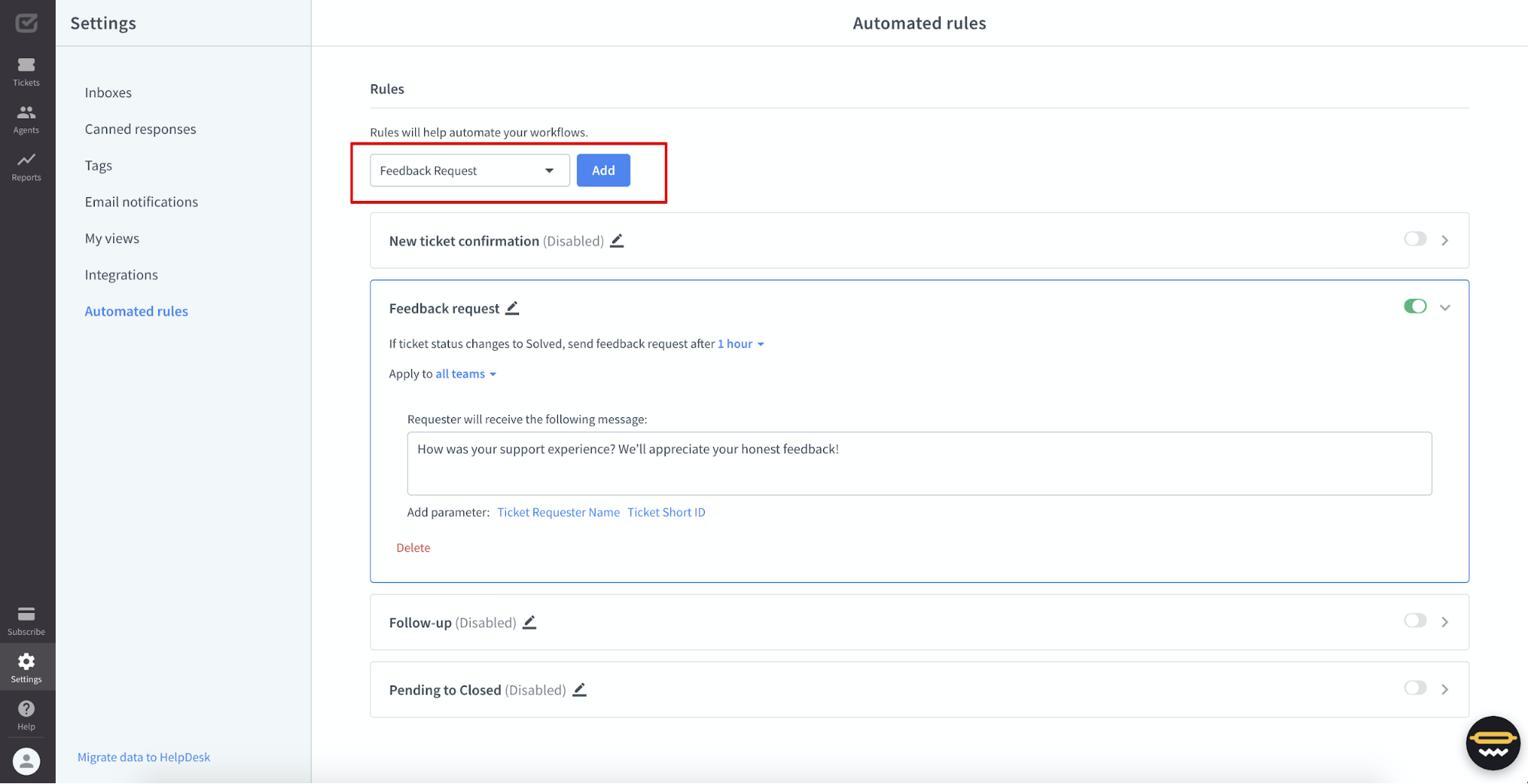 Automated rules view