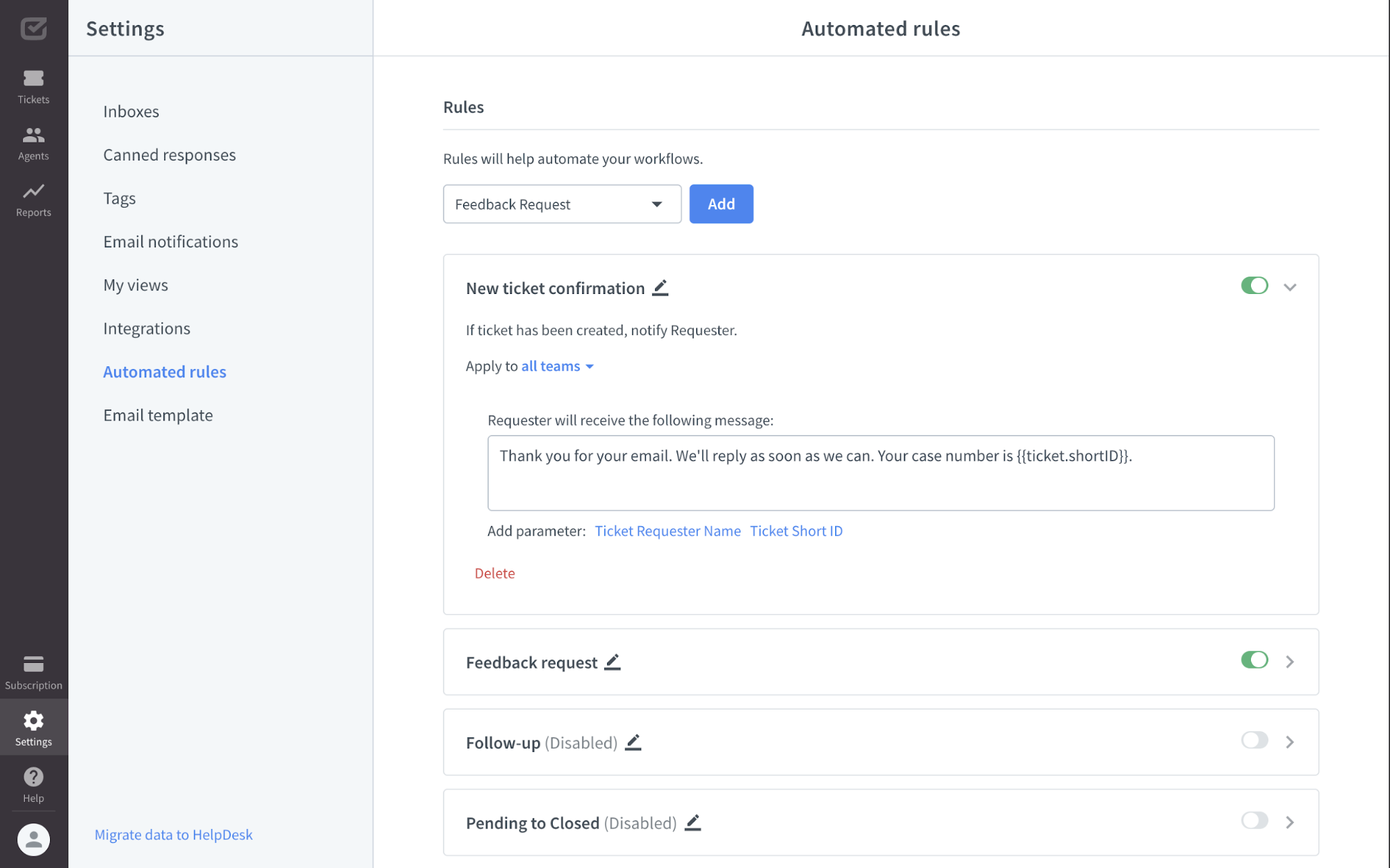 Automated rules view in HelpDesk app