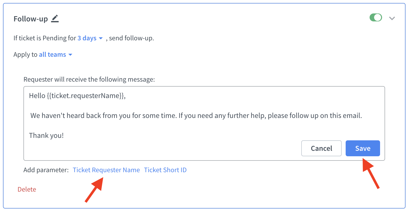 Editing a rule in HelpDesk app
