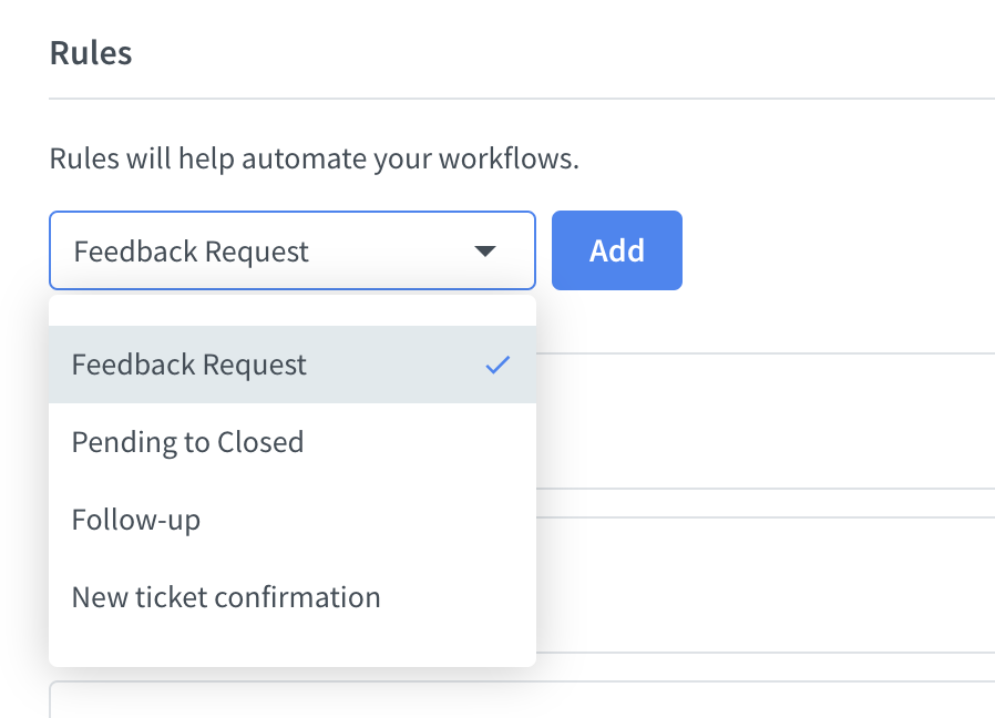 HelpDesk automated rules dropdown