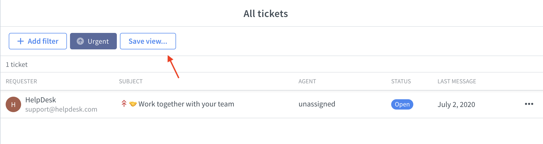 Saving the view with filtered ticket priority