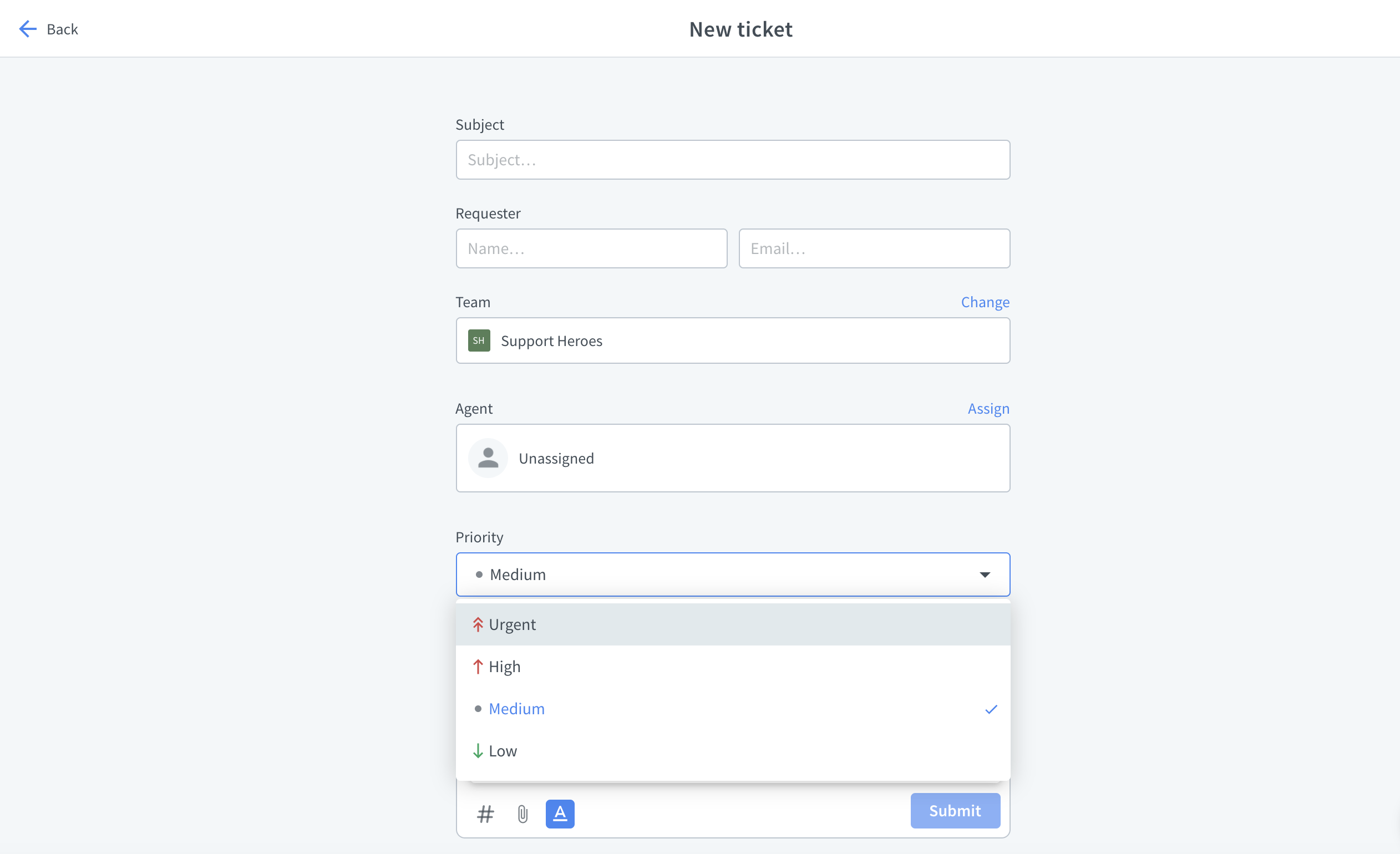Priority setting while creating a new ticket
