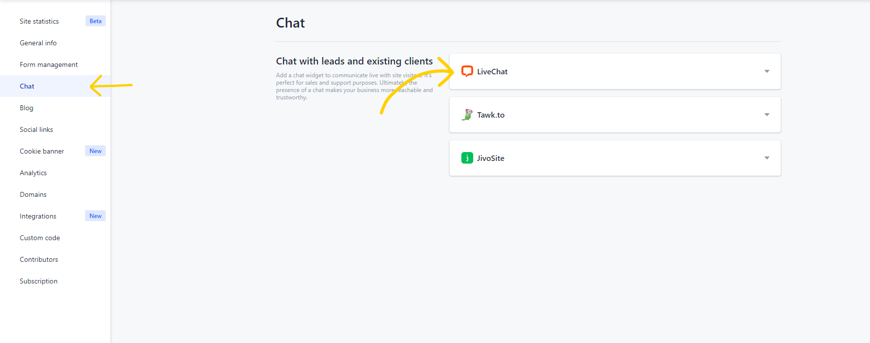 In your Weblium panel, go to Settings and select Chats.