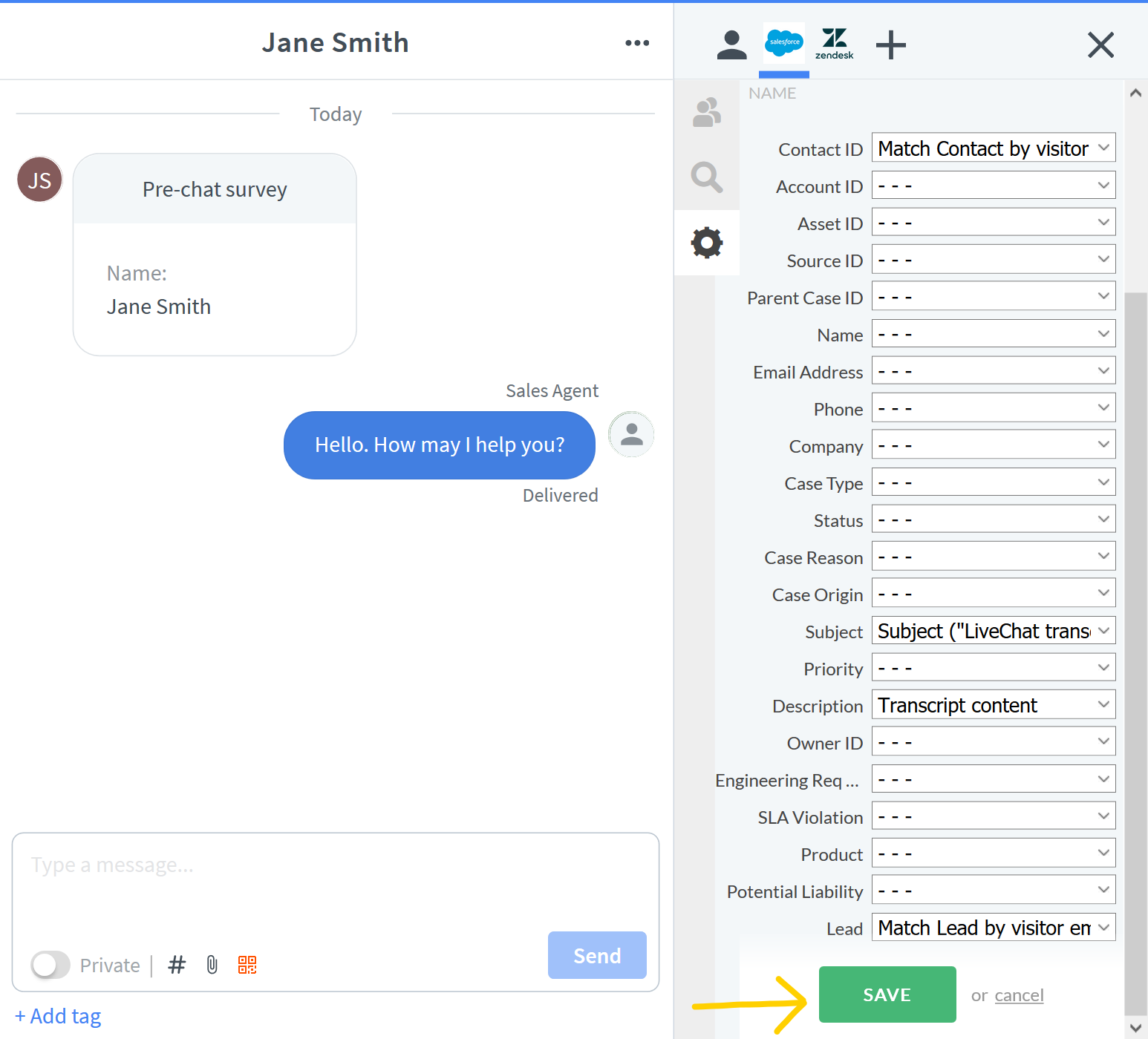 Transcript fields mapping in LiveChat