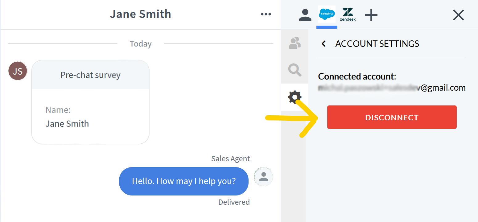 Disconnect Salesforce button