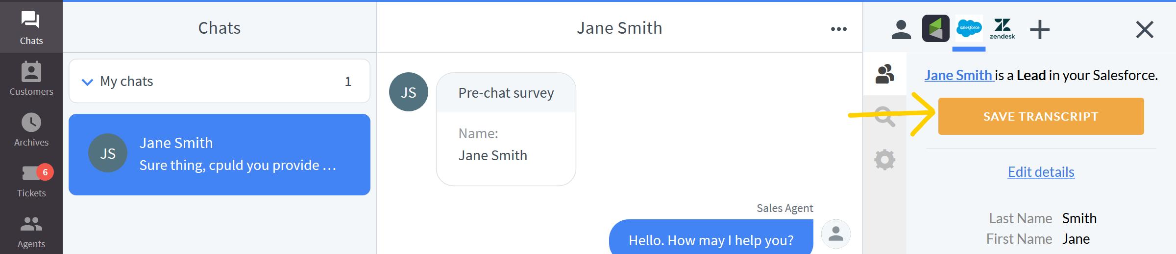 Saving a chat transcript