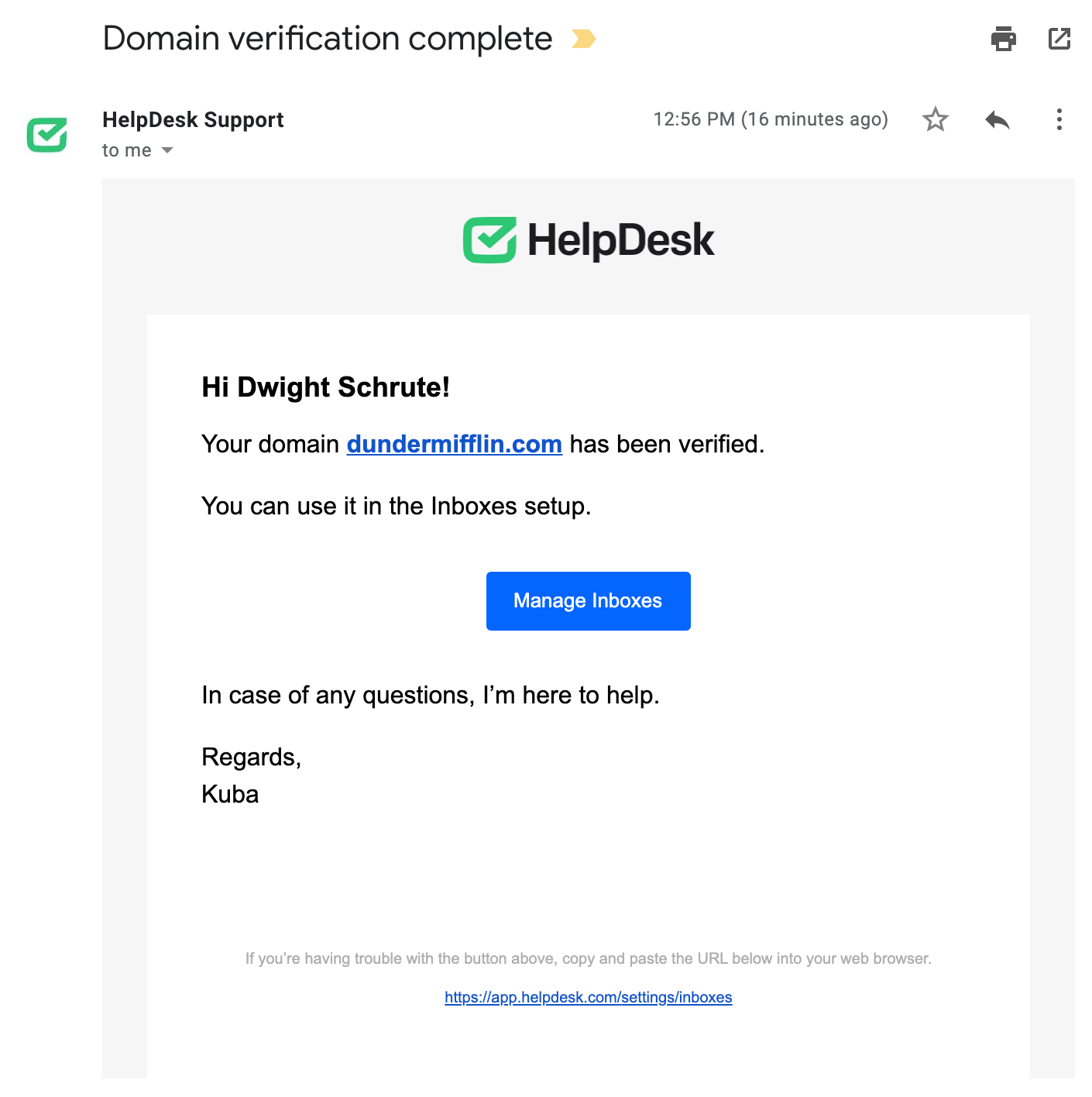 Email confirmation of verifying the domain.