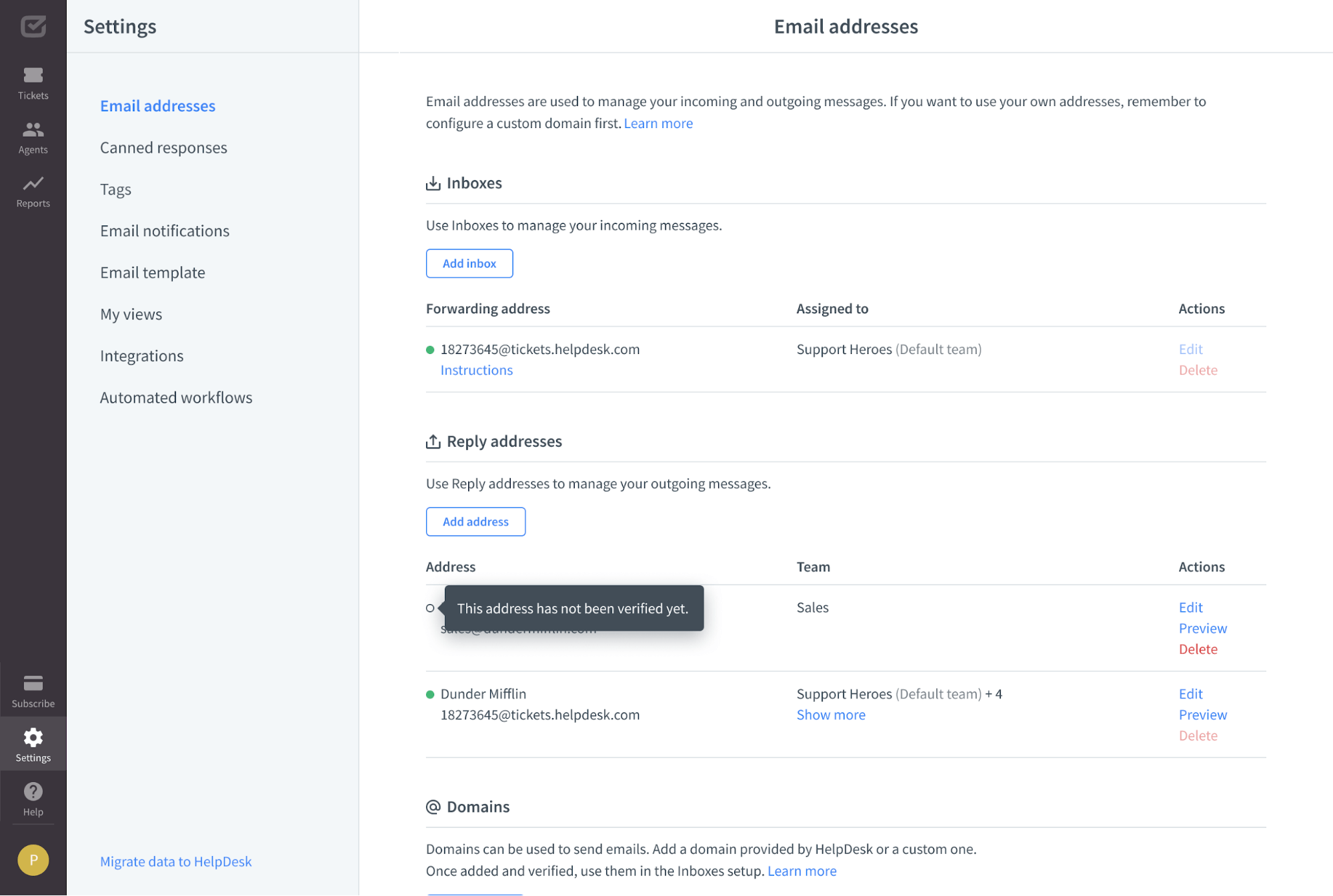 Reply address section before address verification.