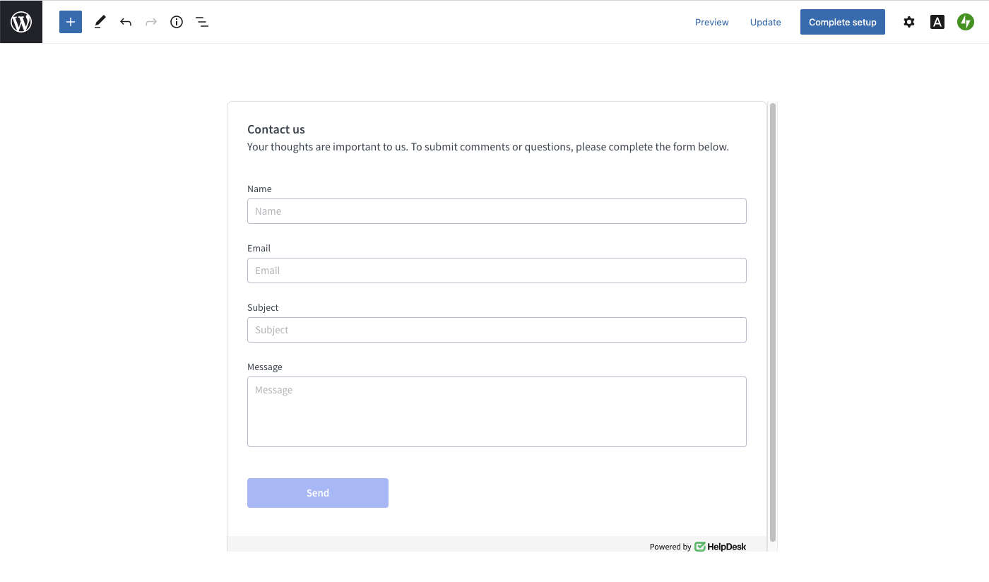 The preview of a contact form on WordPress.