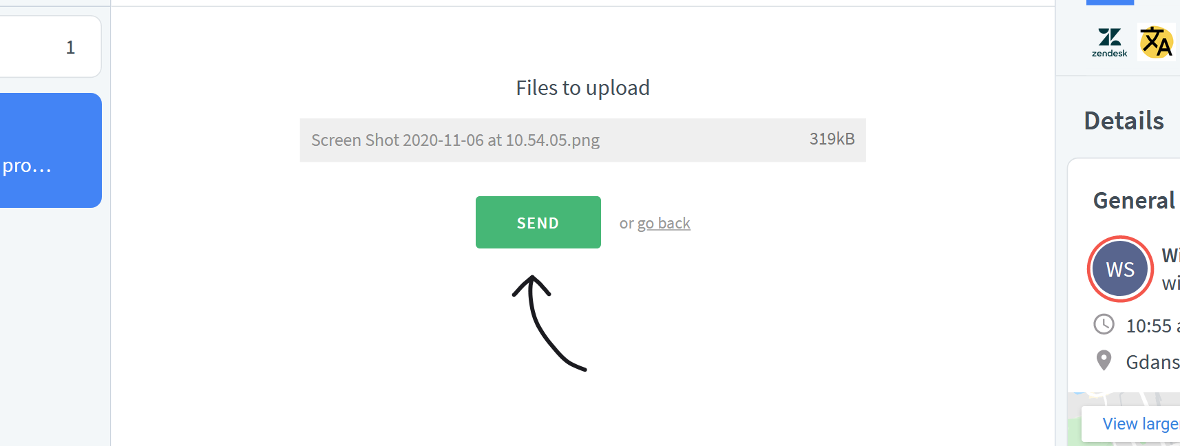 Click on send to share files over LiveChat