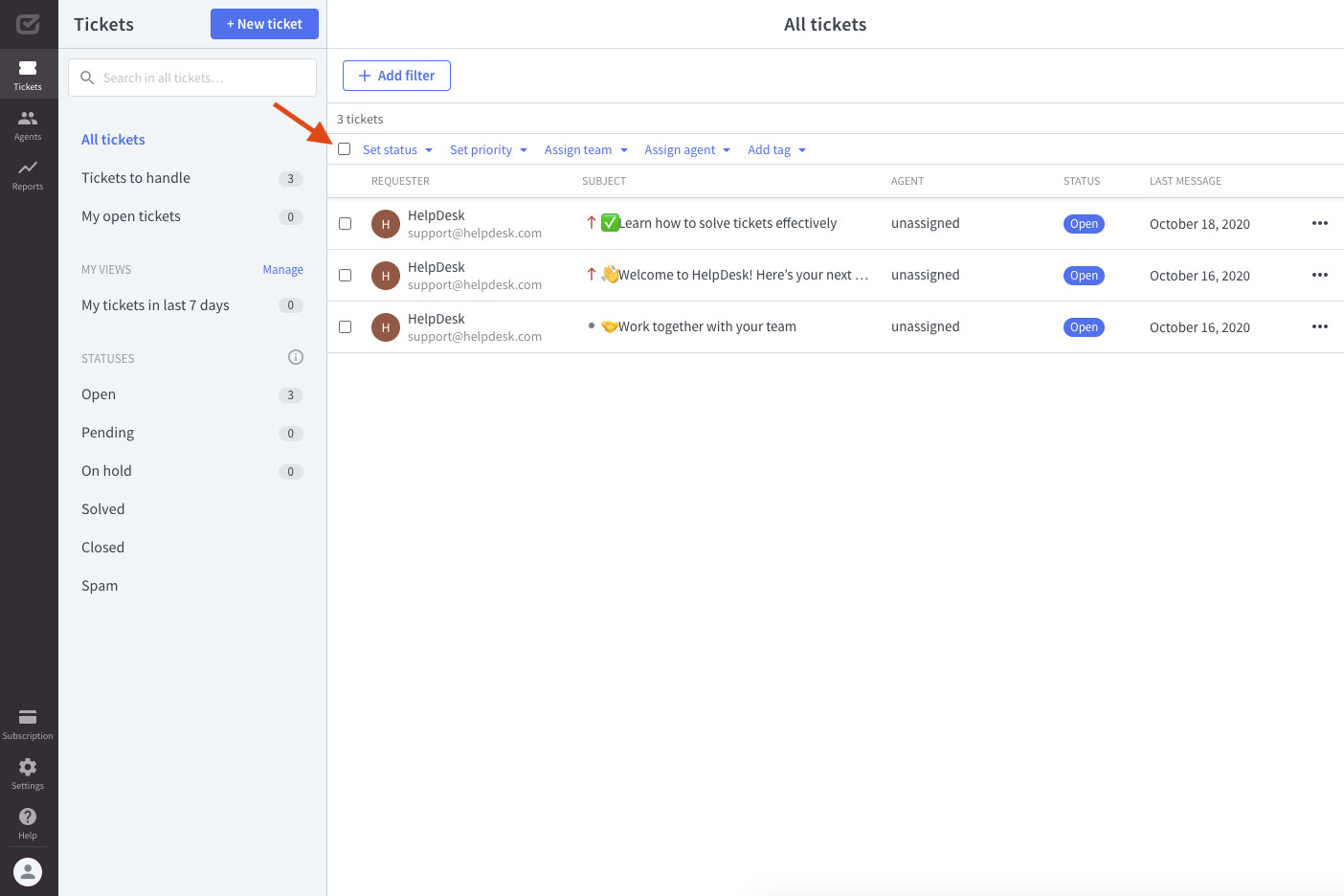 Overview of bulk actions.