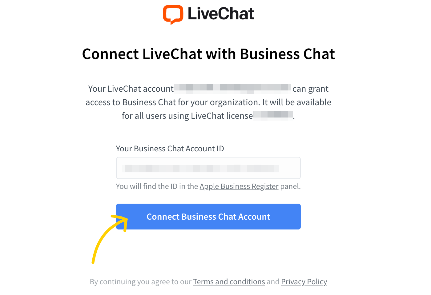 Connect LiveChat with Business Chat