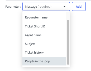 """The """"People in the loop"""" parameter in the email template."""