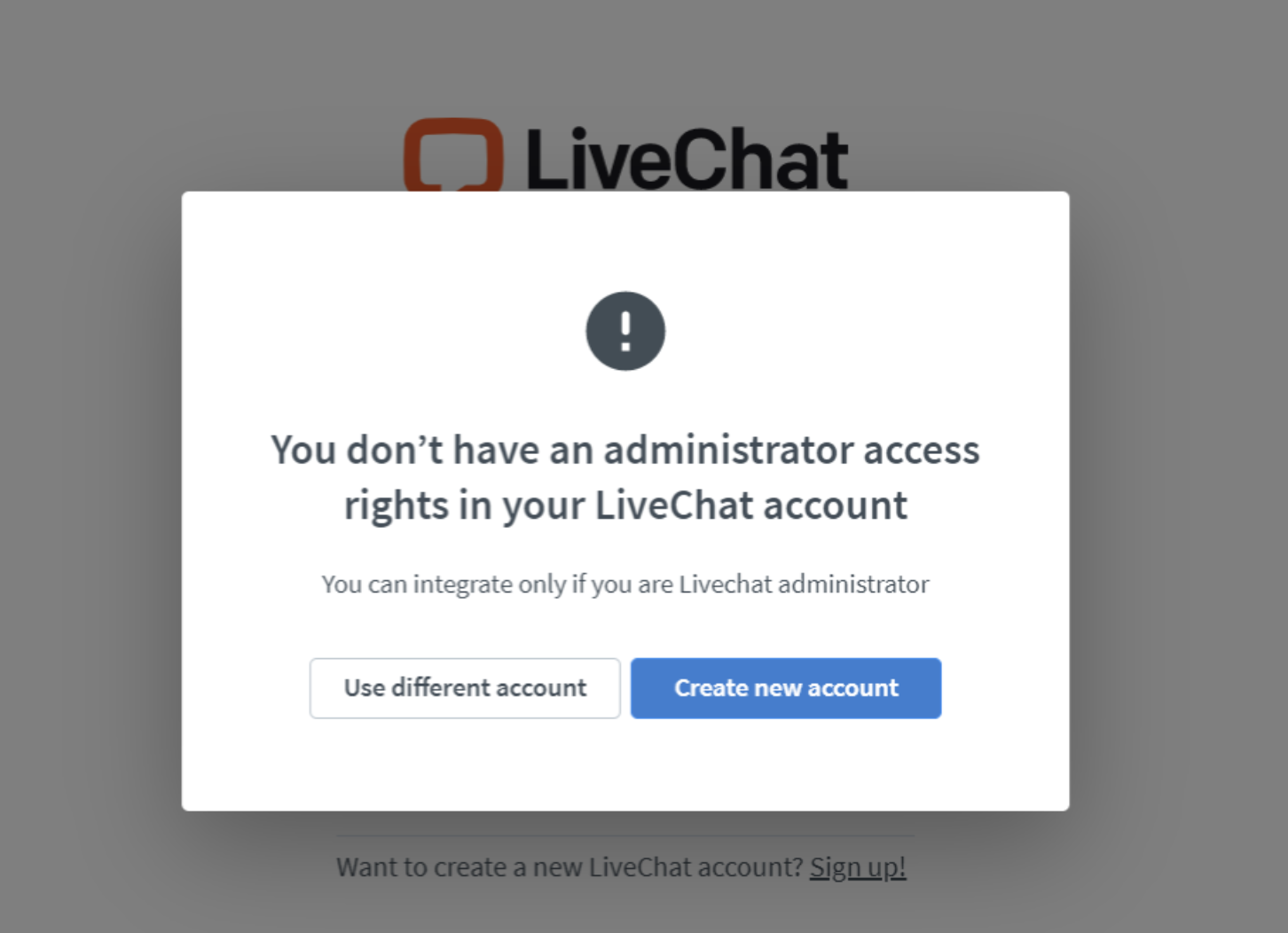 Error message: You don't have administrator access rights in your LiveChat account