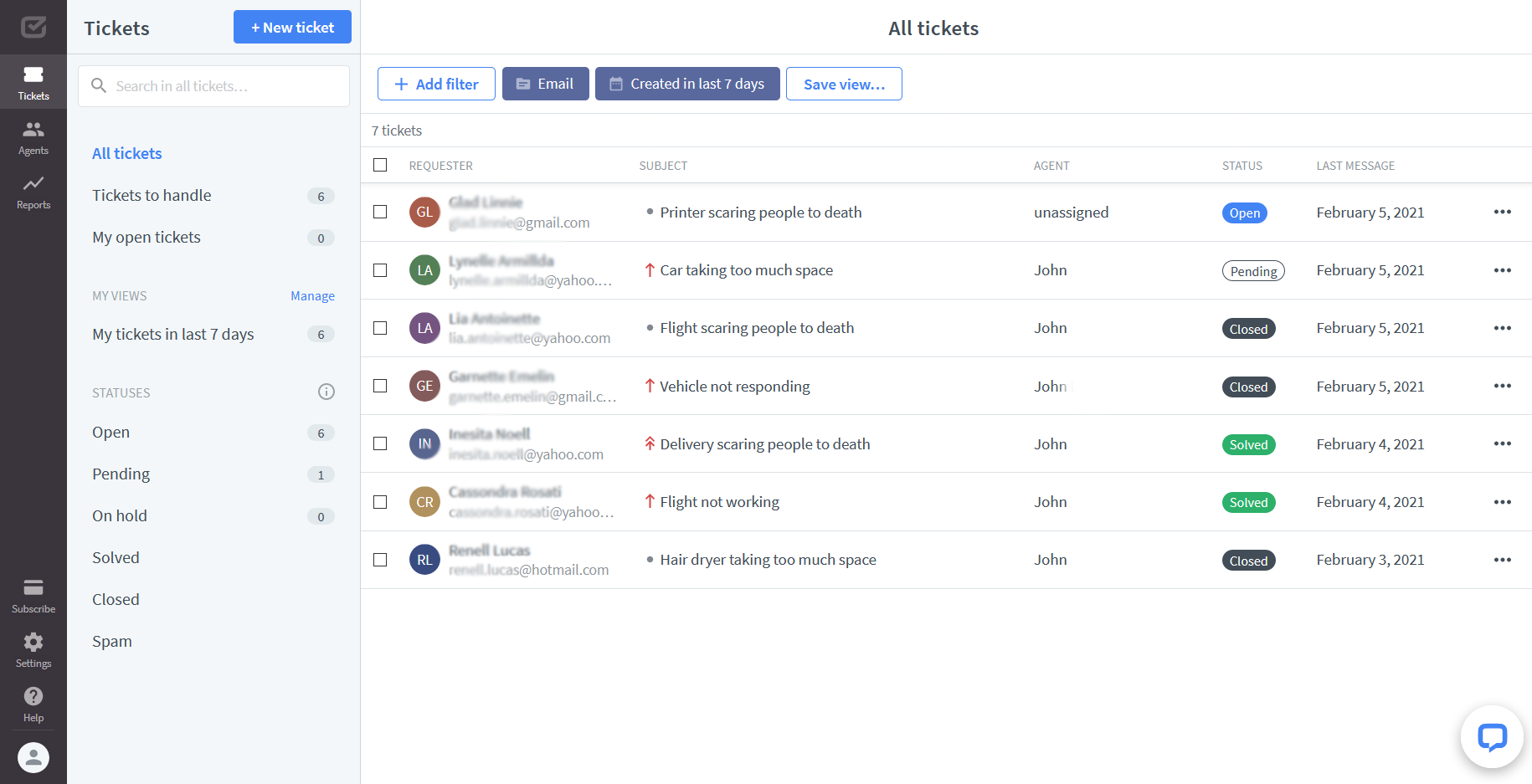 HelpDesk view of a list of tickets with variuos statuses: Open, Pending, Solved and Closed.