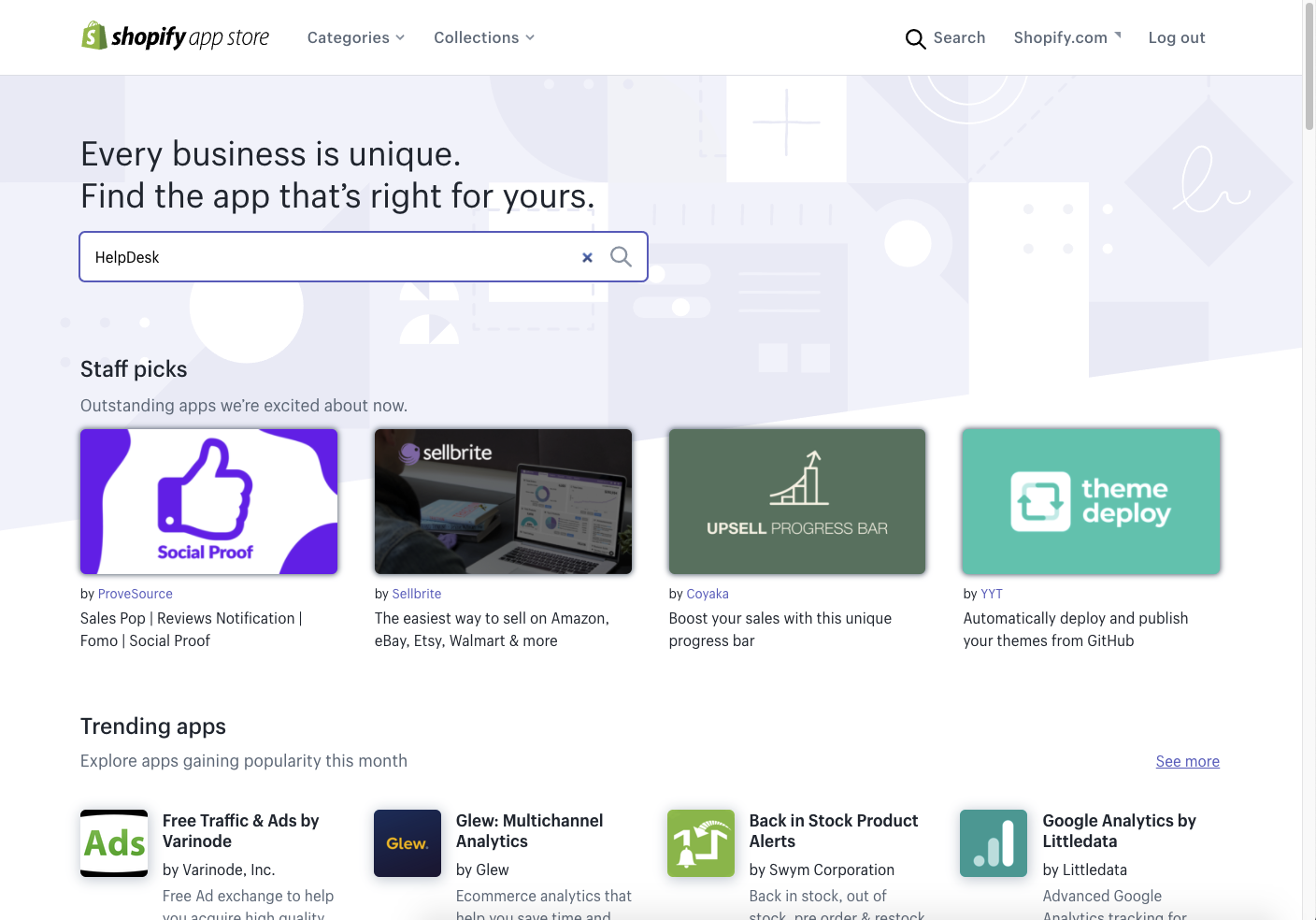 The main page of the Shopify App Store and the search bar.