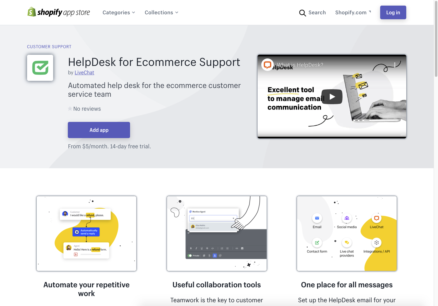 A view of the HelpDesk app in the Shopify App Store.