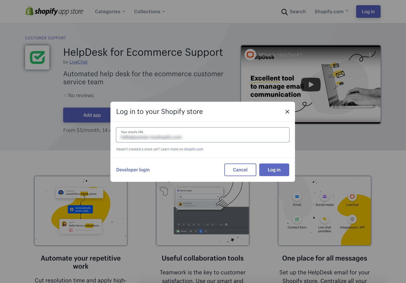 A pop-up window for logging into your Shopify store.