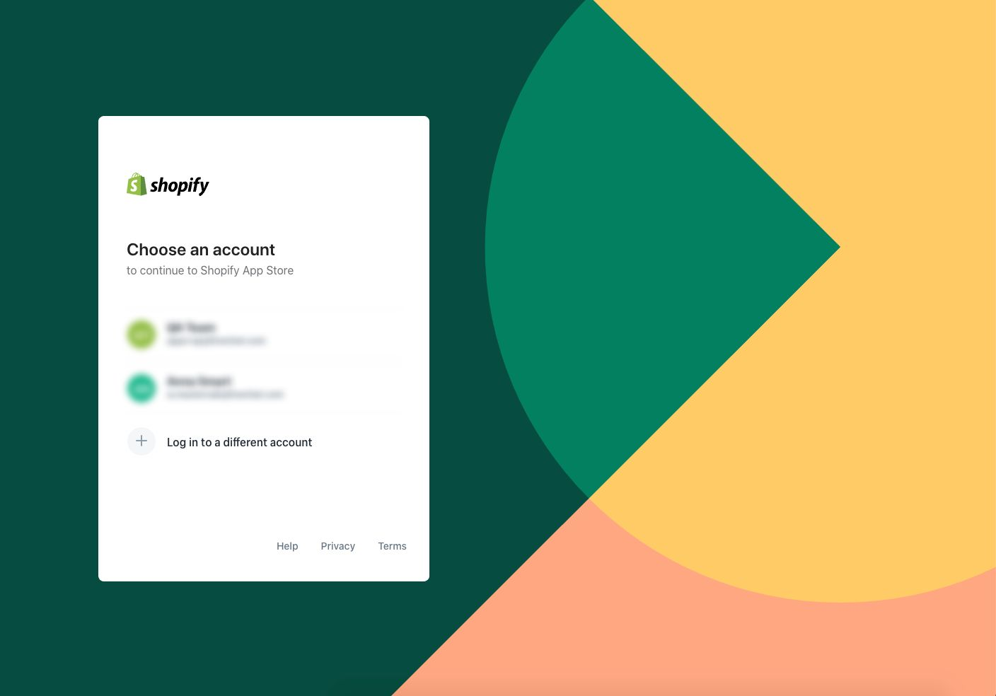 Selecting a Shopify account to continue the process in the Shopify App Store.