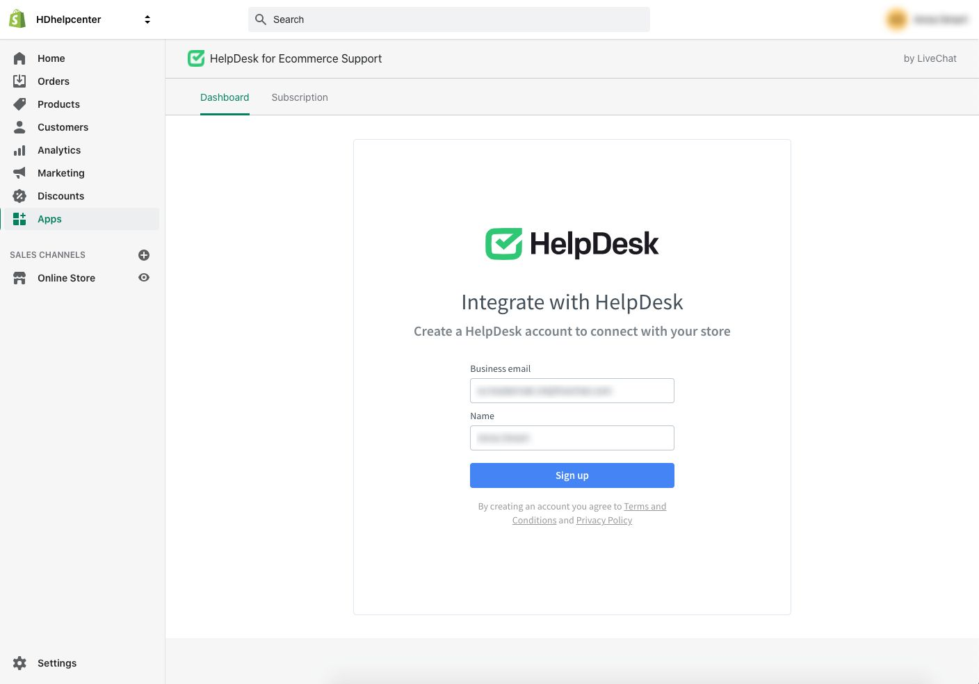 Creating a HelpDesk account to connect to the Shopify store.