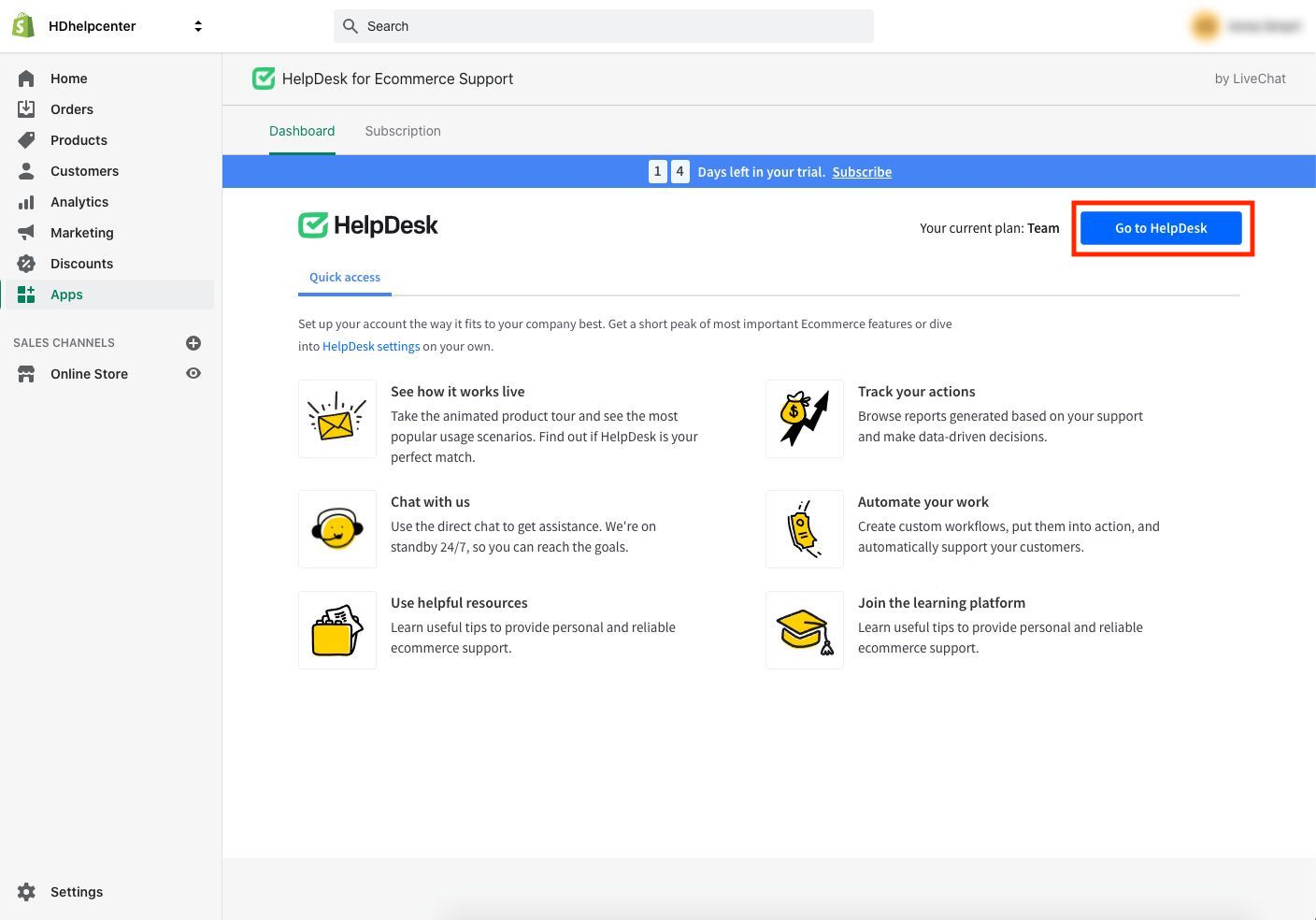 """The """"Go to HelpDesk"""" button in the HelpDesk dashboard in the Shopify store."""