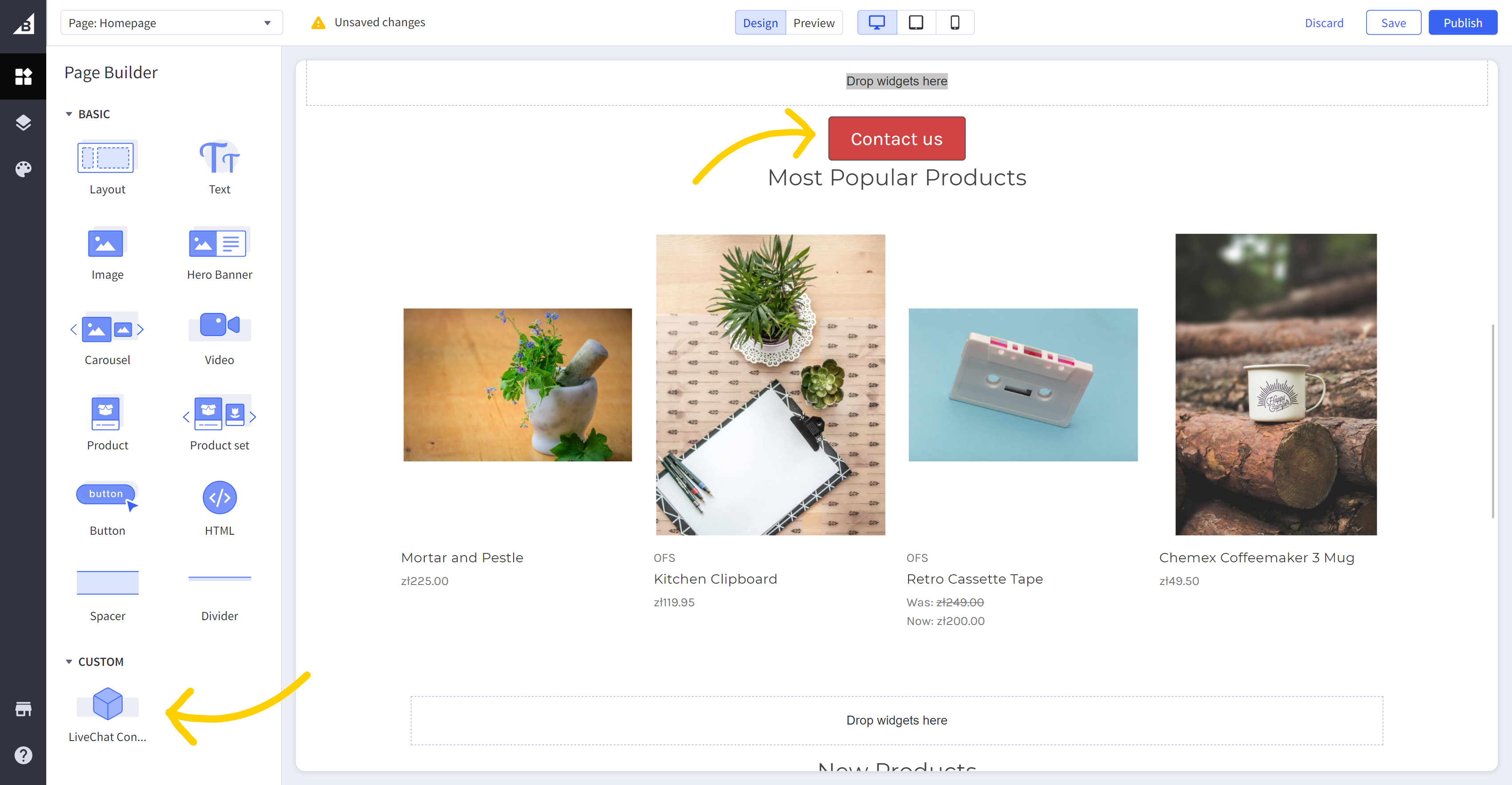 Page Builder widget in the BigCommerce admin panel