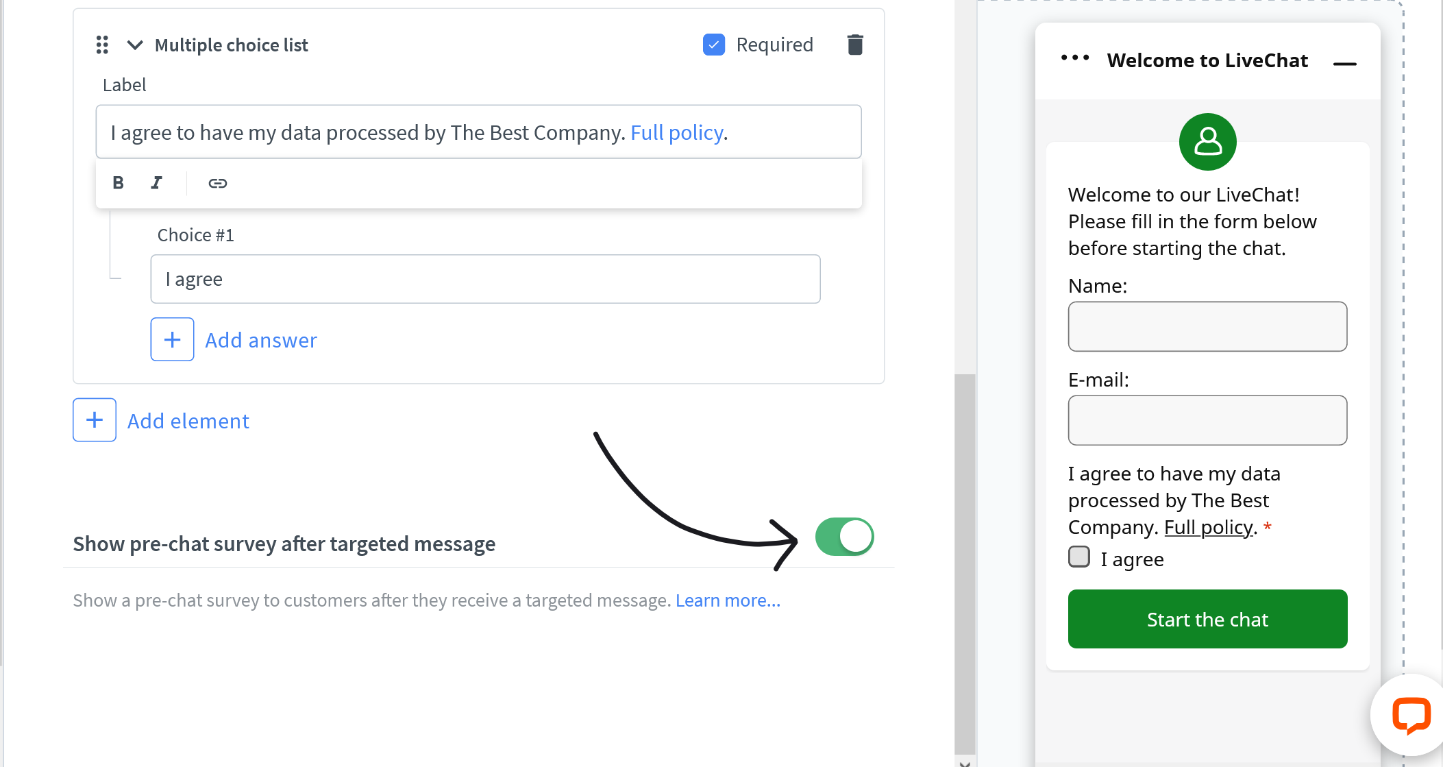 Show pre chat survey after targeted message