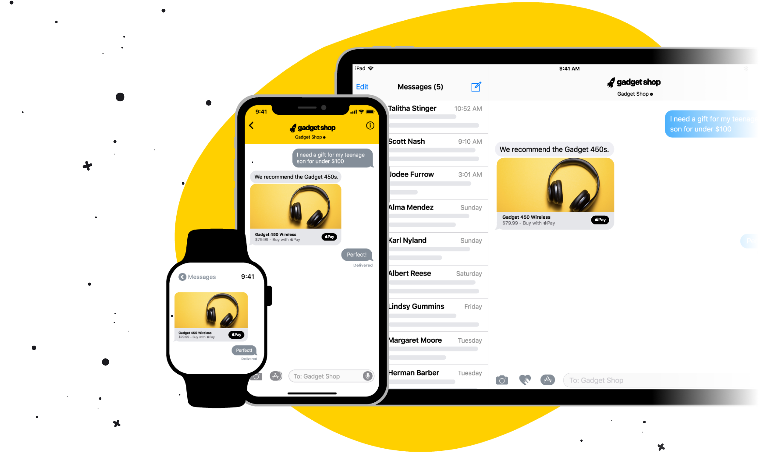 Apple Business Chat on Apple Watch, iPhone and Mac