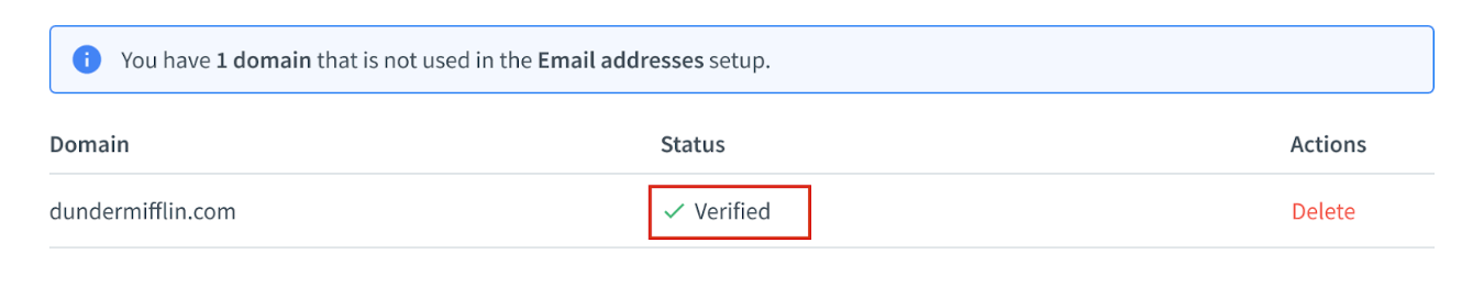 Verified domain notification in the HelpDesk app.