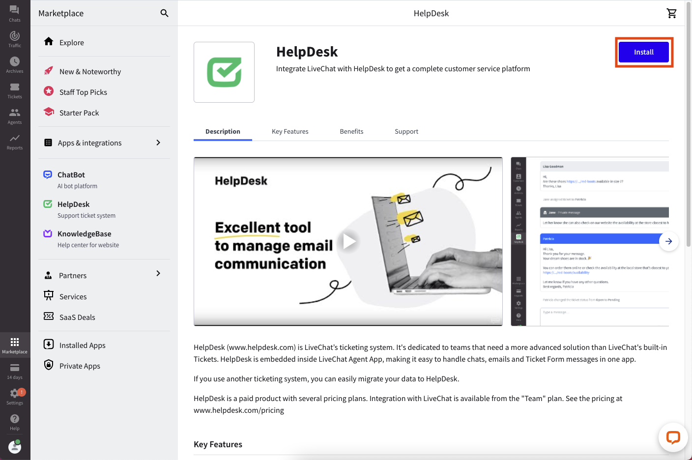 Installing HelpDesk in the LiveChat marketplace.