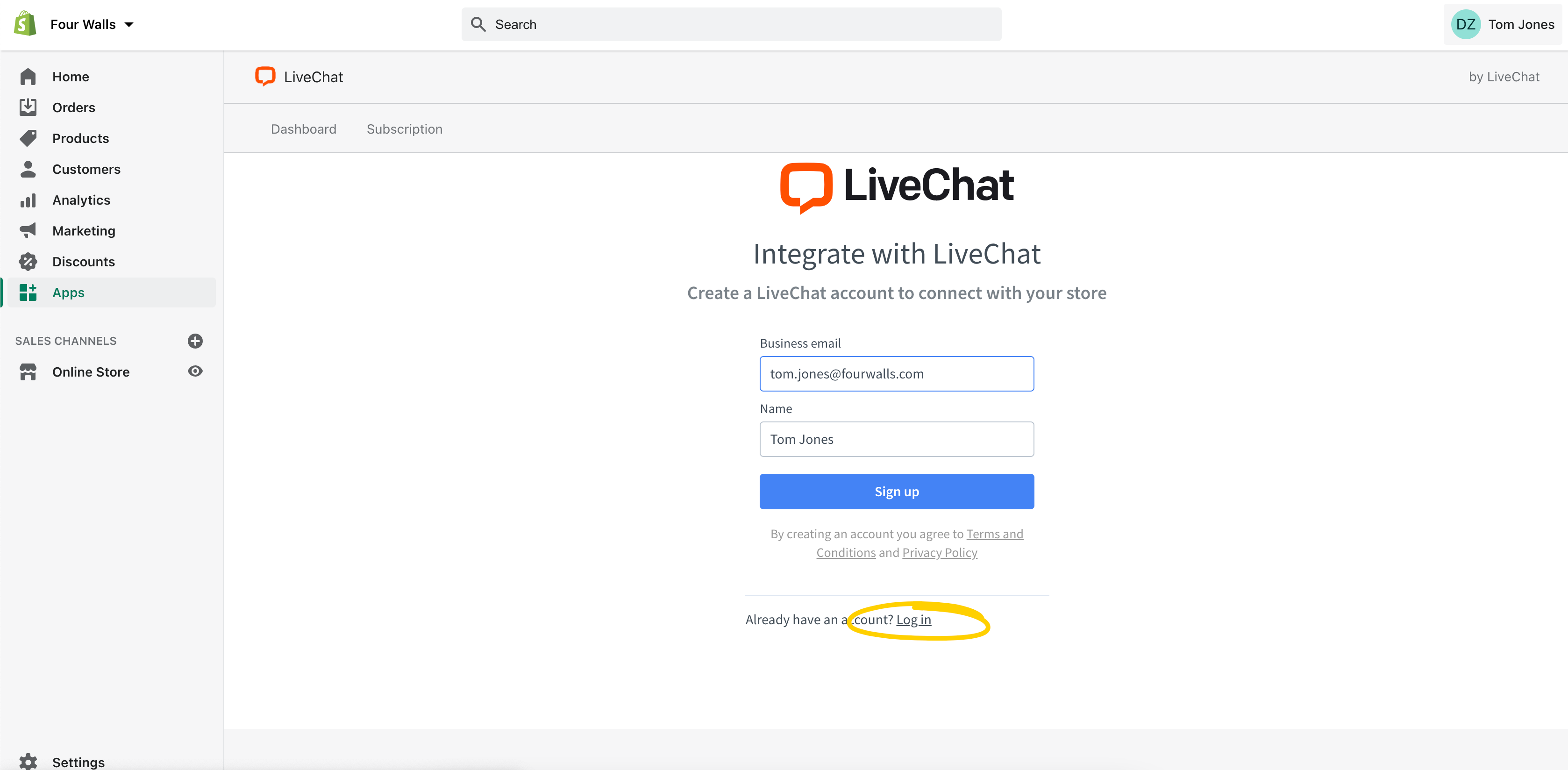 Connect LiveChat account to Shopify app