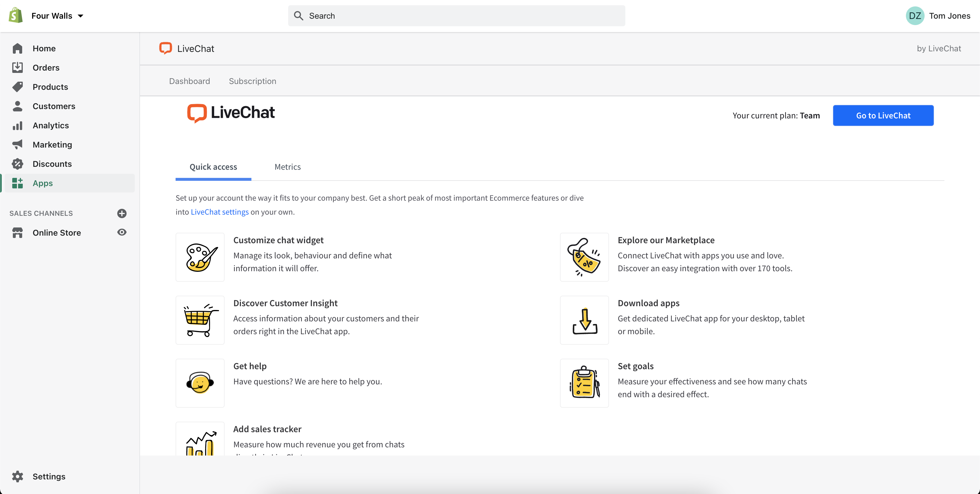 LiveChat dashboard to Shopify