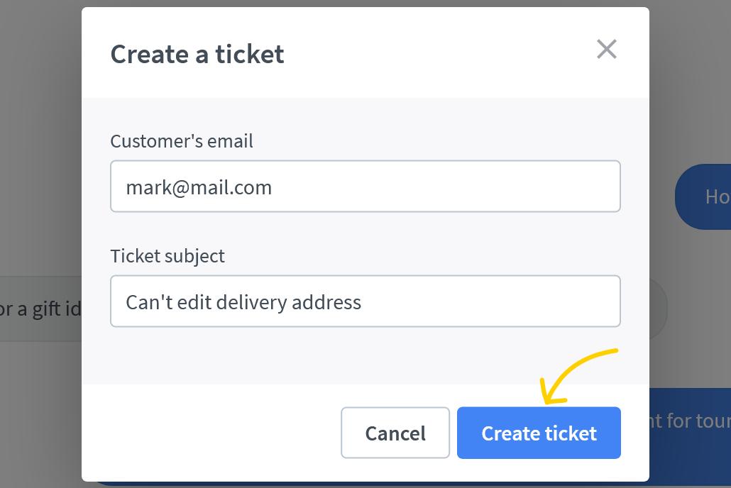 Click on create ticket