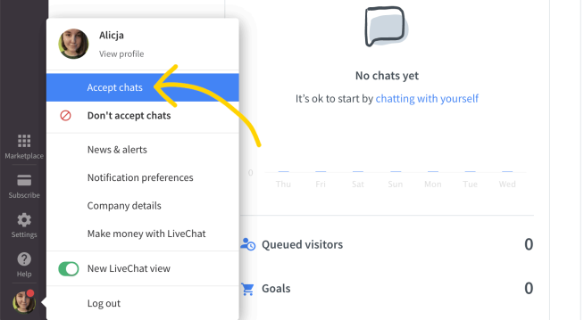 Accept chats status in LiveChat