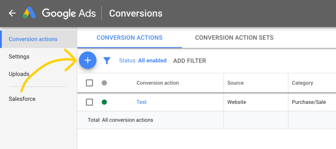 Add new Adwords conversion