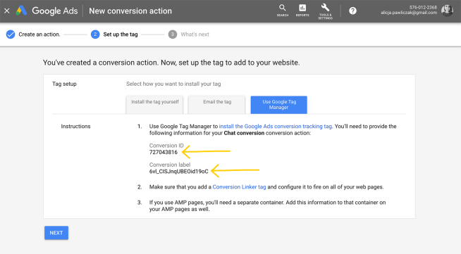 Copy adwords conversion id and label