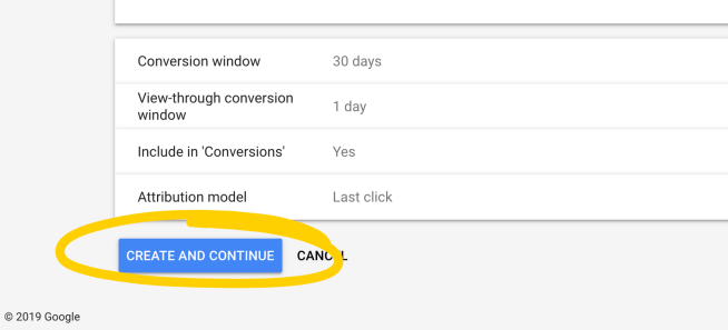 Save a new tag in Adwords