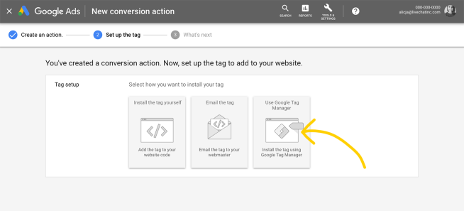 Set up the tag with Adwords