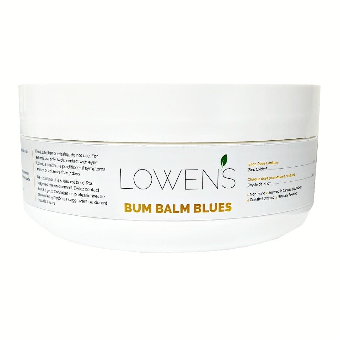Bum Balm Blues - Intensive care for rash BY LOWENS.CA #diaperrash #bumbalm #skinbalm #babybalm #allnatural #canadiangreenbeauty