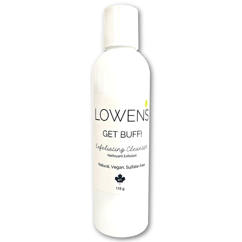 Get Buff! Vegan Exfoliating Facial Cleanser - by LOWENS.CA #vegan #skincare #canadiangreenbeauty #cleanser #exfoliator