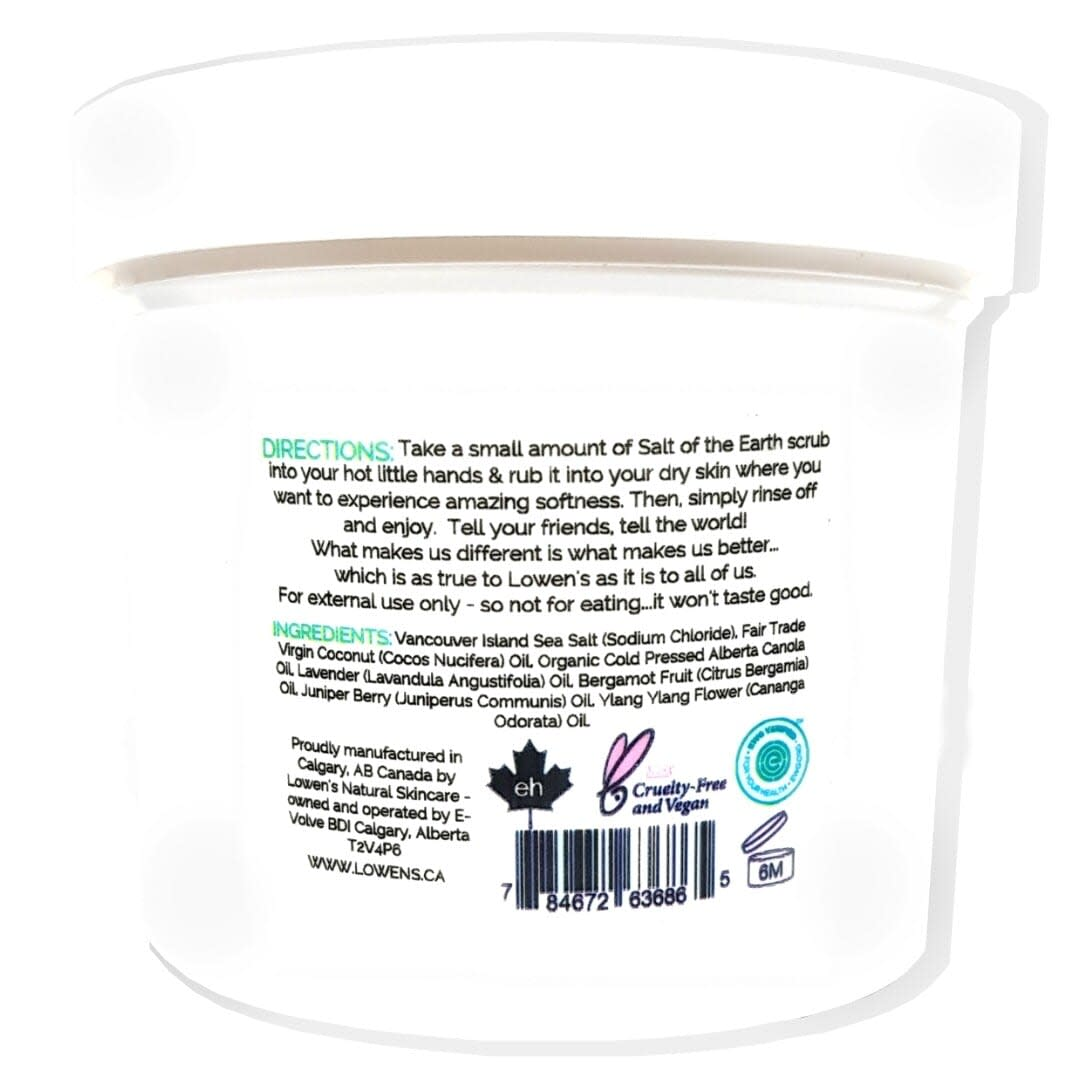 Salt of the Earth Sea Salt Scrub - by LOWENS.CA #saltscrub #seasalt #natural #skincare #greenbeauty #bodysalts #bodysalt #canadiangreenbeauty