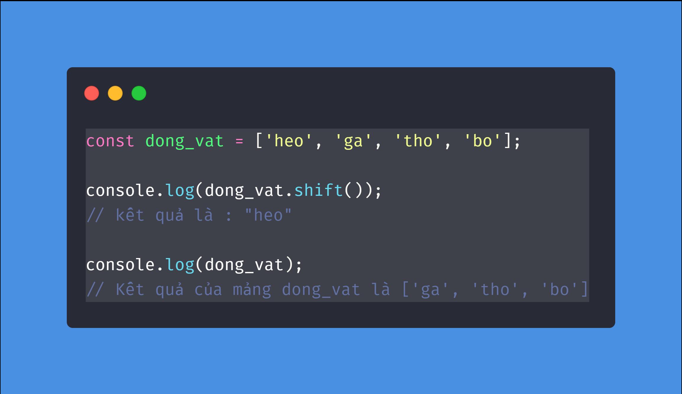 Phương Pháp shift Trong Javascript