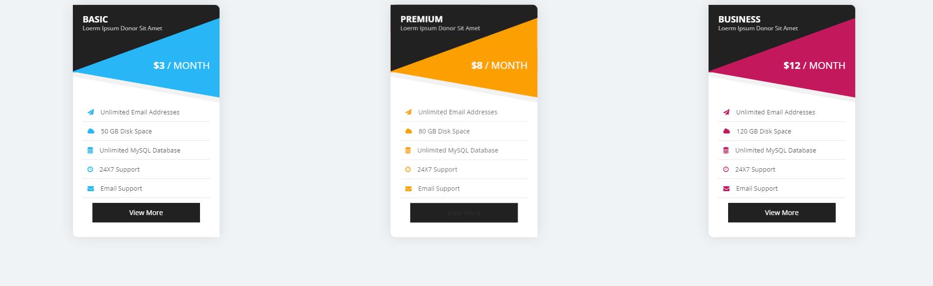 Pricing table(bảng giá dịch vụ) xây dựng bằng HTML, CSS và Bootstrap