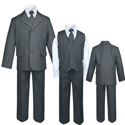 Easter Boys Vest Suit Set w//Pinstripe Royal Blue//Black,Sz 5,6,7